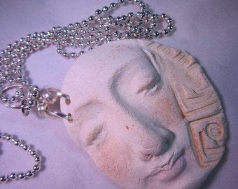 White Clay Spirit  Greek Symbol Necklace