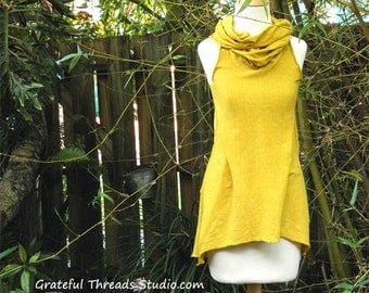 Cowl Neck Tank Top in organic hemp jersey. Made to order.