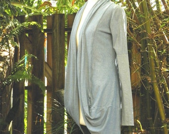 Long Open Cardi in organic hemp jersey. Made to order.