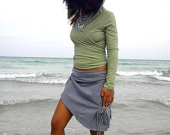 The Freeform Mini Skirt in Organic Hemp Jersey. Made to order.