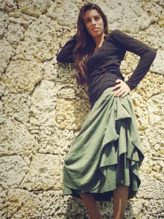 GT Double Bustle Skirt in 100% Organic Cotton Hemp Jersey. SAMPLE SALE. Ready to ship.
