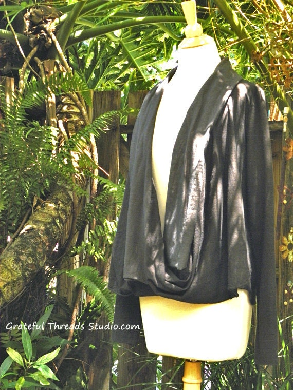 The Sea Breeze Twist Front Cardi in organic hemp stretch jersey. Size Large in Vintage Black. Ready to ship. SUMMER SALE