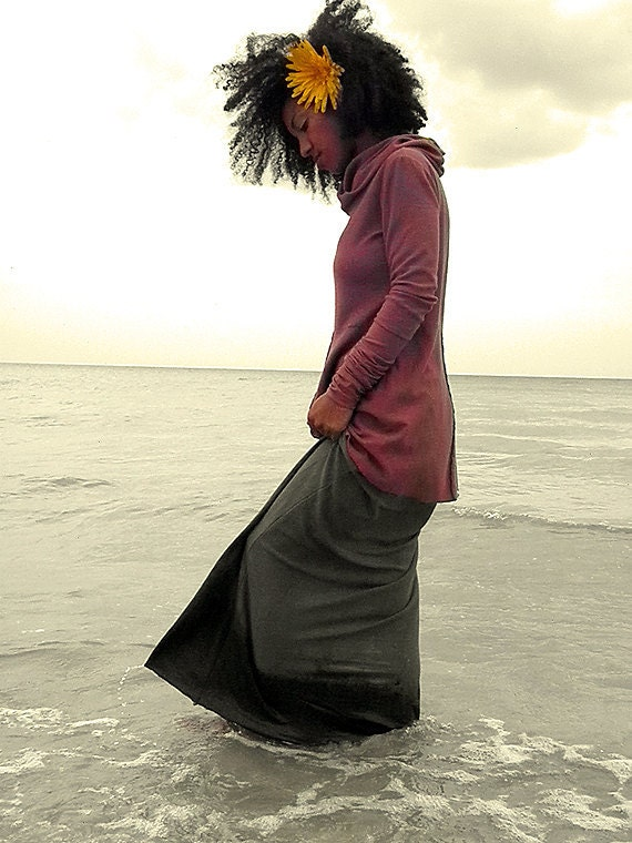 Barefoot Skirt in 100% Organic Cotton Hemp Jersey. Made to order.