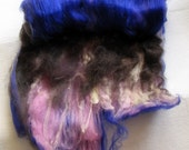 Black Cat Handspun spinning batt Ka-Chow wool merino alpaca corriedale locks 1.9 oz.
