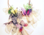 Fluttery Breath of Life Necklace- 2  Transfer on Organza MADE TO ORDER