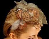 Fluttery Butterflies Head Piece with Organza Butterflies and Nude tone Veil
