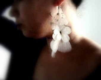 Long Butterflies Earring  Organza- Statement piece SINGLE