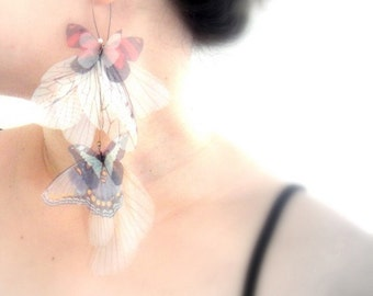 Long Fluttery Cluster Earring - Statement piece -SINGLE -