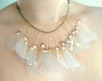 Wings of Iris- Organza Moth wings Necklace
