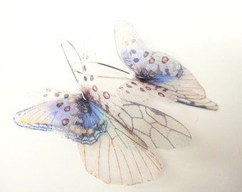Butterflies all Over Organza Earrings  Pale Blue  and White Pair