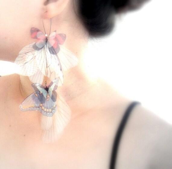 Long Fluttery Cluster Earring - Transfer on Organza- Statement piece -SINGLE -