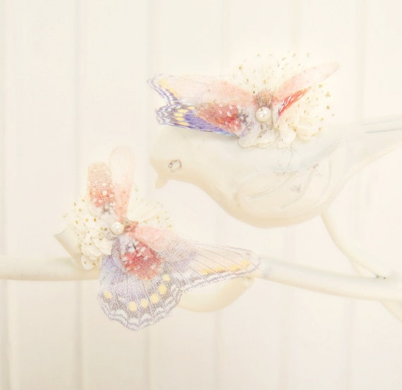 NEW Spring Fairy Post Earrings with Ivory Fabric flowers and Blue Butterfly wings READY to ship