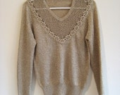 sparkly gold crochet lace yoke sweater pullover medium