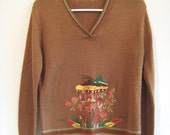 adorable cricket mushroom sweater pullover large