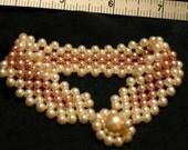 Mauve & White glass pearl bracelet