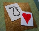 letterpress pear valentine