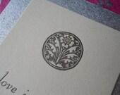 letterpress love in bloom card