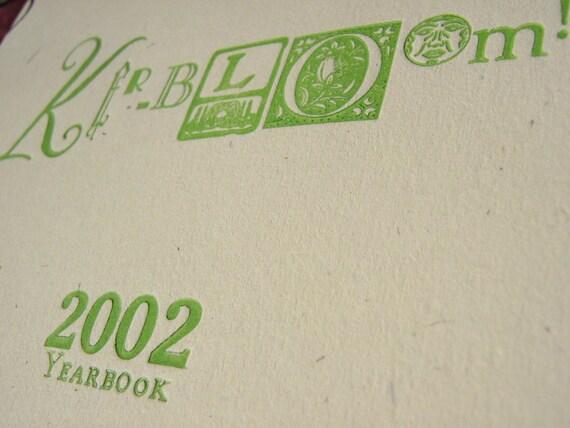 Kerbloom letterpress zine 2002 yearbook
