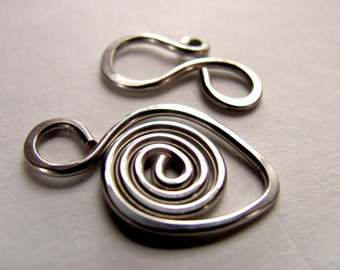 Clasp with Hook and Swirl from Tinned Copper