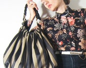 SWANclothing Leather and Striped Satin Louche XL w Braid and Bronze Rings