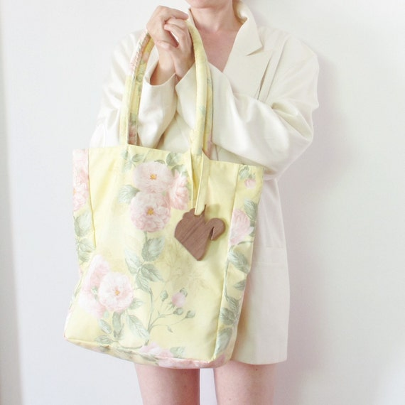SAMPLE SALE SWANclothing FLORAL LASSO tote in LEMON with PINK ROSES