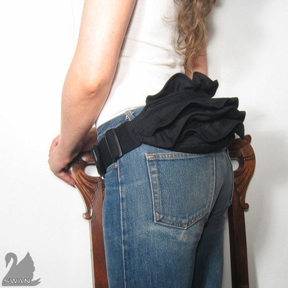 SWANclothing RUFFLE BUSTLE BUMBAG- fannypack belt hip bag pouch in BLACK