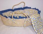 Decorated denim trimmed infant moses basket with bedding