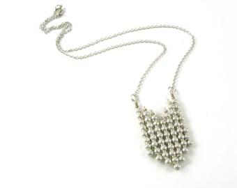 Silver Necklace Chevron Pendant Beaded Woman's Necklace