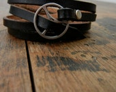 Leather Wrap Bracelet in Black leather with silver buckle