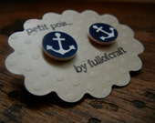 Petit Pois Earrings with Blue and White Anchor