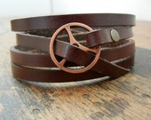 Leather Wrap Bracelet in Brown leather with small copper buckle