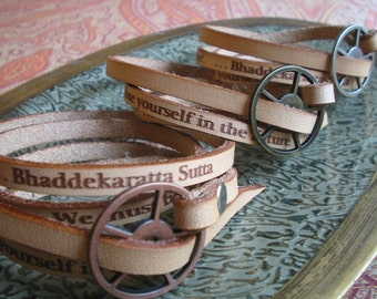 Leather Buddha Wrap Bracelet Brass Closure - One Size fits All