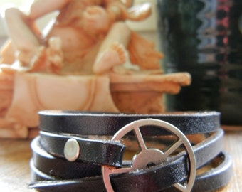 Leather Wrap Bracelet - Black leather with silver buckle