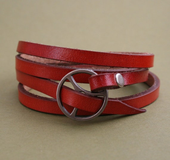 Leather Wrap Bracelet in Red leather with silver buckle as seen in Country Living Magazine