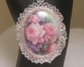 Bead Framed Porcelain Pink Roses Cabochon Necklace