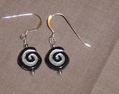 Black and Silver Spiral Earrings 0104