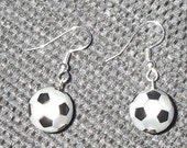 Mother of Pearl and Black Chalcedony (onyx) Soccer Ball Earrings