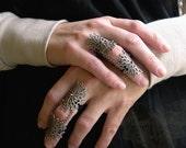 Byzantine Armor Ring Gothic Flourish Filigree and vintage strass ONE ring