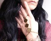 Love Triangle Tribal Hand Flower Slave Bracelet  Hand Jewelry 2PC SET pair