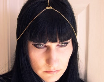 ON SALE Chain Head Piece Headdress Boho style in Gold Tone Handmade in USA to your size was 13.00