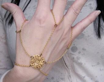 Spinnerete Gothic Flourish Filigree Hand Flower Slave Bracelet  Hand Jewelry
