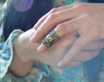 Baroque Knuckle Ring Armor Ring Ornate Filigree Limited Edition Antique Gold One Ring