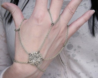 Filigree Statement Slave Bracelet  Hand Jewelry Silver Tone