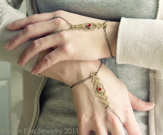 Alexandria Coptic Flourish Filigree Hand Flower Bracelet  Hand Jewelry 2 piece set