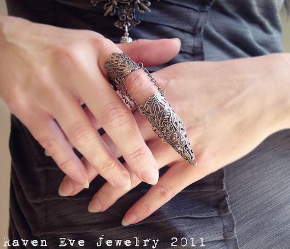 Dagon Full Finger Armor Ring Gothic Flourish Filigree One. Dinosaur Rings. Pearl Rings. Garnet Side Stone Wedding Rings. Celebration Wedding Rings. Elevated Engagement Rings. Imitation Engagement Rings. Wedding Vietnamese Wedding Rings. Thread Rings