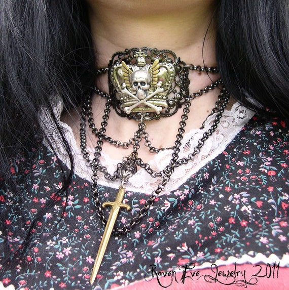 Queen Of Swords Chain and Filigree Gothic Choker   Raven Eve Jewelry