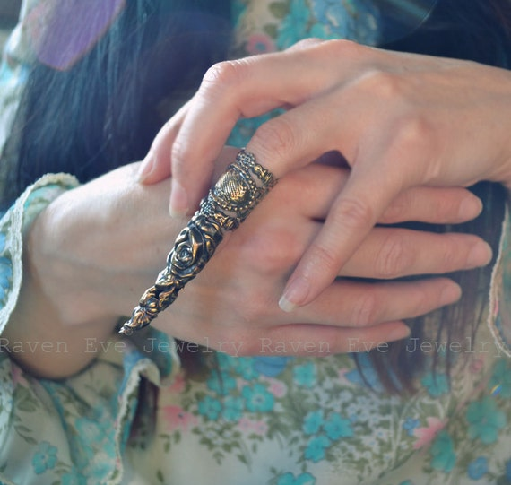 Goblin King Fierce Brass Filigree Knuckle Ring And Nail Armor Jewelry Set