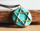 Star Of David Necklace-The Turquoise Version