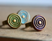 Cold clay whirl texture on adjustable brass ring