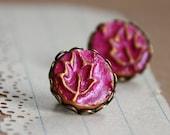 Fuchsia Leaves - Post Earrings - NEW